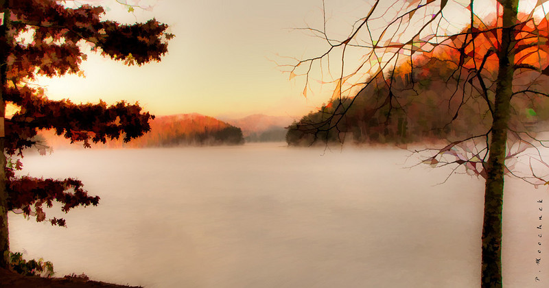 Early morning fog on Lake Glenville NC at 31 degrees today