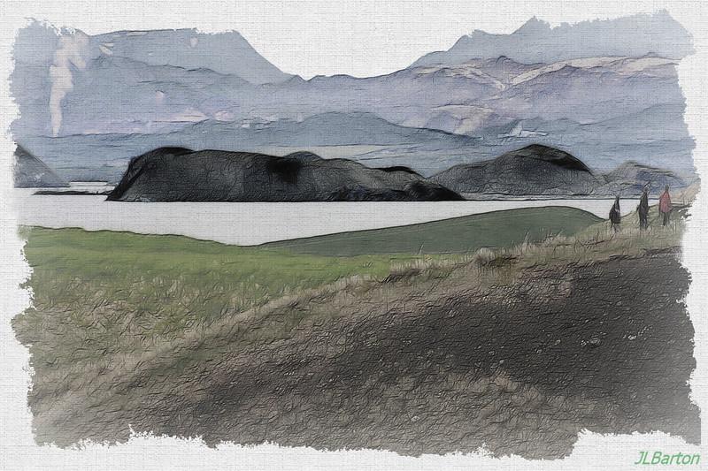 Lake Myvatn Steam in the background