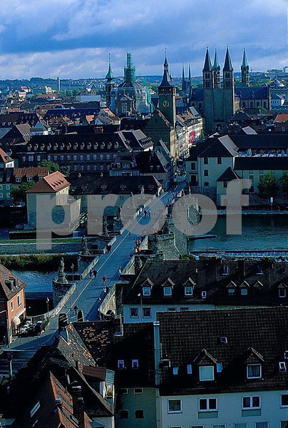 The view from the Wurzburg Castle looking over the Main River to Wurzburg city center, Germany.