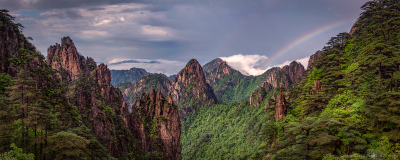 Rainbow over Huangshan (Yellow Mountain), China.