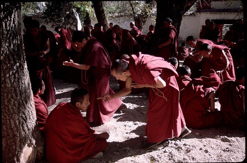 Monks debating the teachings of Buddha