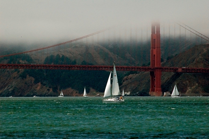 Sailing under the Golden Gate Bridge in San Francisco Bay.