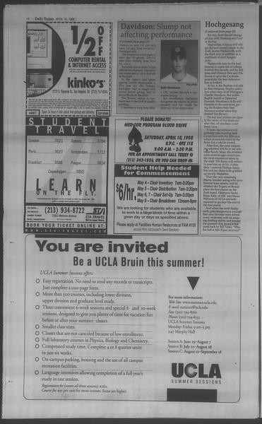 Daily Trojan, Vol. 133, No. 60, April 16, 1998