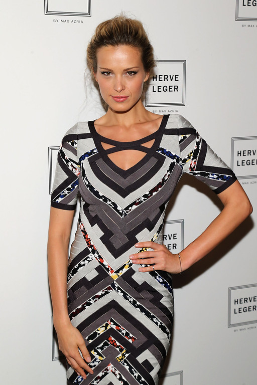 . NEW YORK, NY - FEBRUARY 09:  Model Petra Nemcova poses backstage at the Herve Leger by Max Azria Fall 2013 fashion show during Mercedes-Benz Fashion Week at The Theatre at Lincoln Center on February 9, 2013 in New York City.  (Photo by Neilson Barnard/Getty Images for Mercedes-Benz Fashion Week)