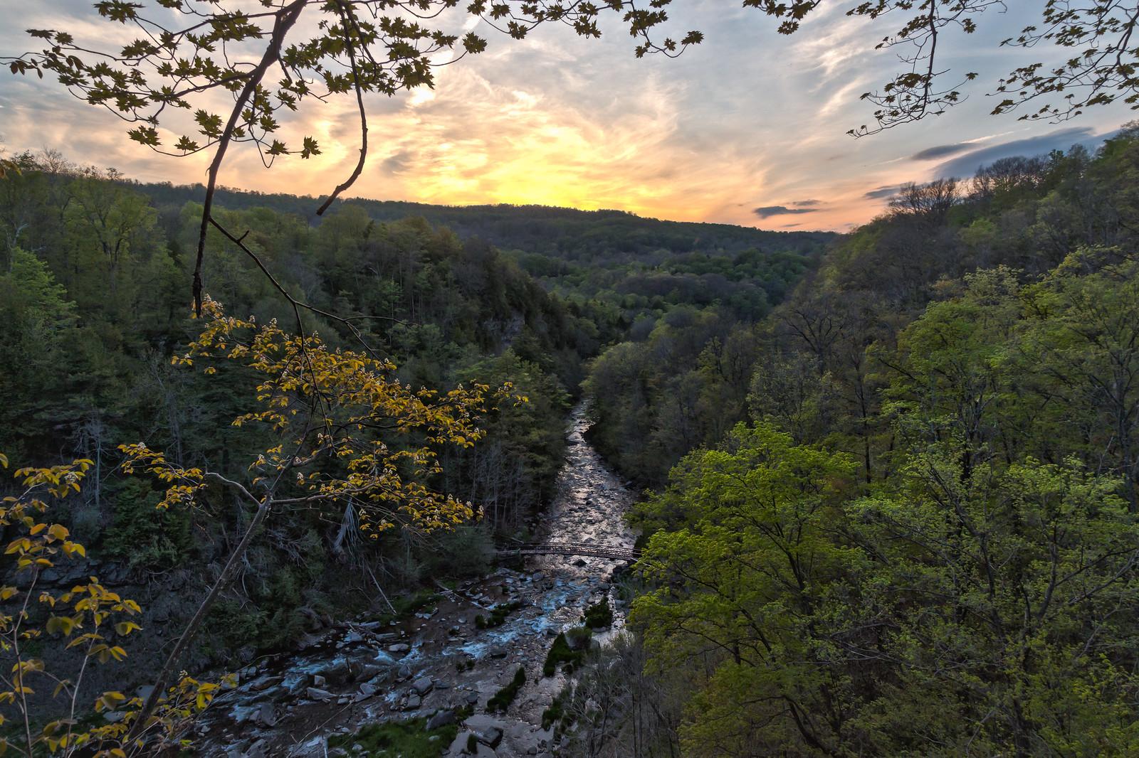 Sunset from atop Chittenango Falls