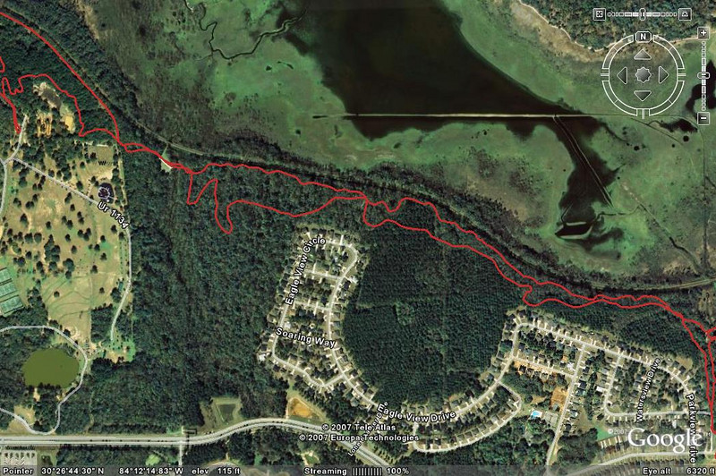 West Cadillac: From Tom Brown Park's BMX Track (left) to west edge of Piney Z (off right edge). Multi-use and singletrack shown. None of the West Cadillac Trail was affected by our work.