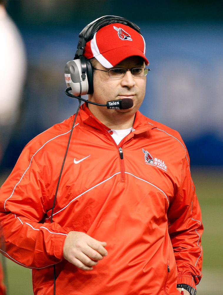 . Head coach Pete Lembo of the Ball State Cardinals directs his team against the Central Florida Knights during the Beef \'O\' Brady\'s St Petersburg Bowl Game at Tropicana Field on December 21, 2012 in St Petersburg, Florida.  (Photo by J. Meric/Getty Images)