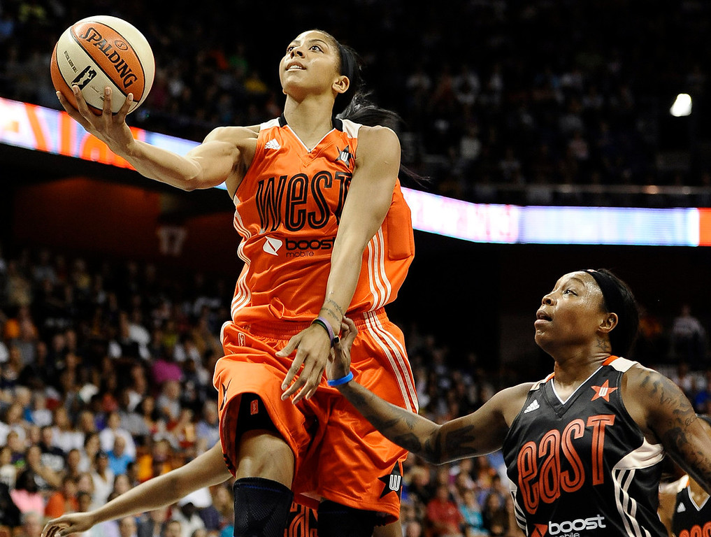 . West\'s Candace Parker, of the Los Angeles Sparks, drives to the basket while guarded by East\'s Cappie Pondexter, of the New York Liberty, during the first half. (AP Photo/Jessica Hill)