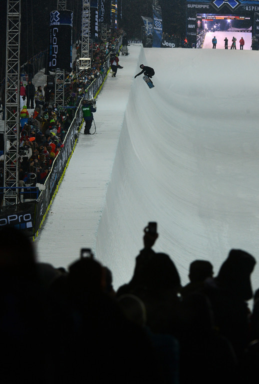 . ASPEN, CO. - JANUARY 24:  Shaun White catches big air during the Snowboard SuperPipe Men\'s Eliminations, January 24, 2013, at the 2013 Winter X Games  at Buttermilk Mountain in Aspen. (Photo By RJ Sangosti / The Denver Post)