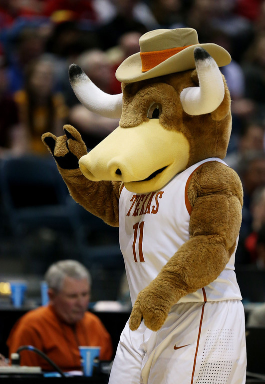 . Texas Longhorns mascot Bevo looks on in the second half against the Arizona State Sun Devils during the second round of the 2014 NCAA Men\'s Basketball Tournament at BMO Harris Bradley Center on March 20, 2014 in Milwaukee, Wisconsin.  (Photo by Jonathan Daniel/Getty Images)