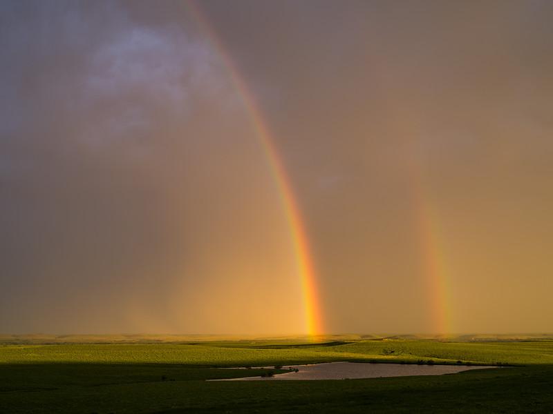 Double Rainbow at Sunset, Central Kansas