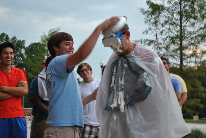Dr. Bonner getting pied.