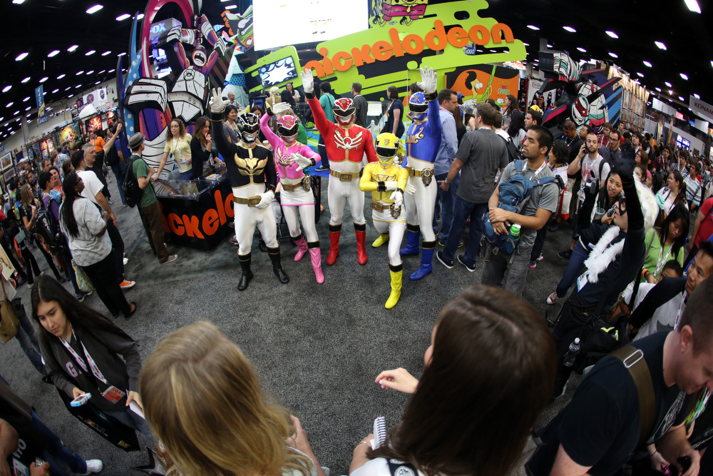 . Saban\'s Power Rangers Megaforce make a MEGA impression at the opening of San Diego Comic-Con International 2013 at San Diego Convention Center on July 18, 2013 in San Diego, California.  (Photo by Chelsea Lauren/Getty Images for Saban Brands)