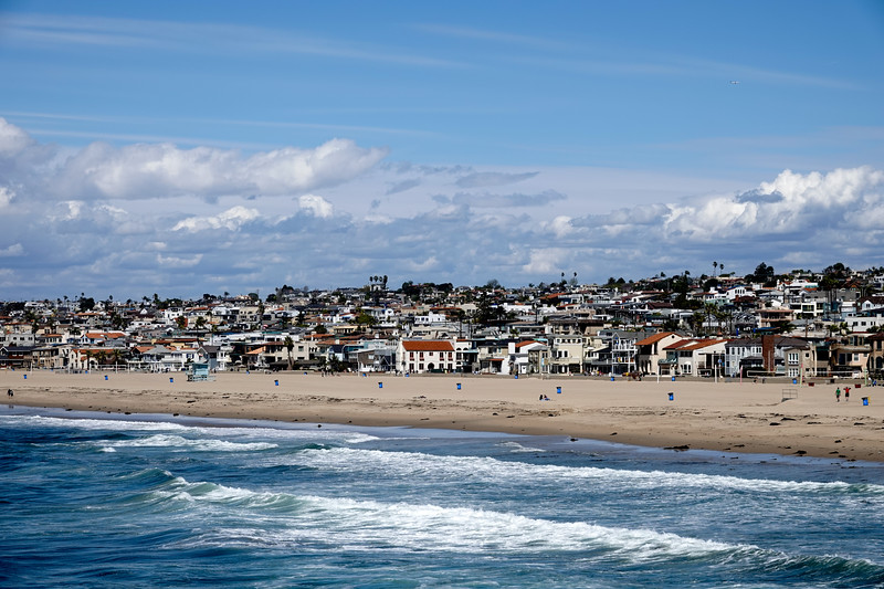 The view of the coastline from the Hermosa Beach Pier