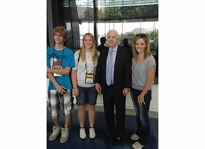 John McCain begged to have his picture taken with Austin, Angela and Beth!!!!