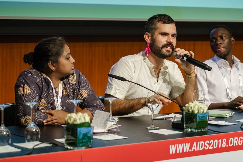 22nd International AIDS Conference (AIDS 2018) Amsterdam, Netherlands.   Copyright: Matthijs Immink/IAS  Young people at the centre: Community mobilization for youth-friendly HIV services  On the photo:  Daxa Patel  Carlo André Oliveras Rodriguez