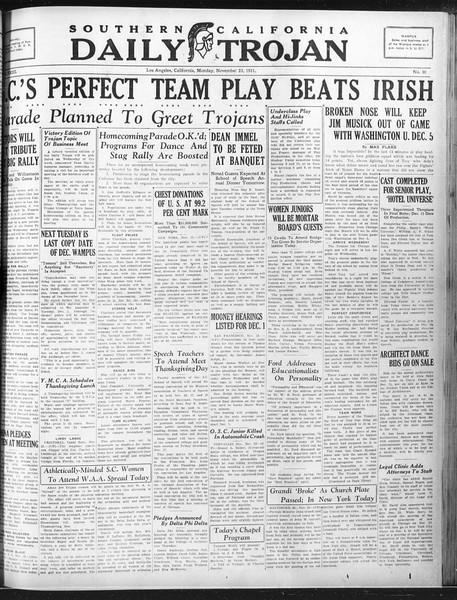 Daily Trojan, Vol. 23, No. 50, November 23, 1931