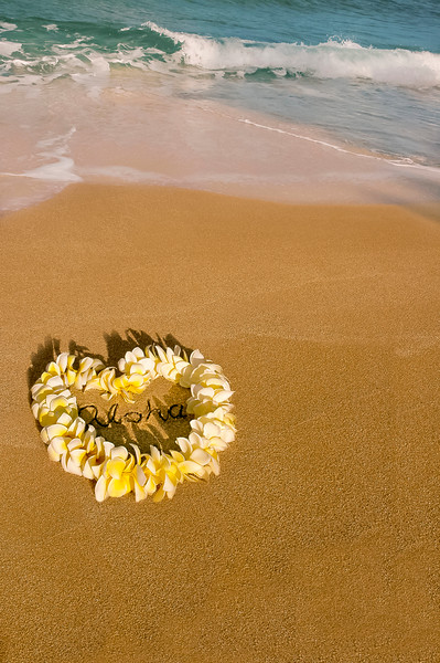 """Heart-shaped yellow and white plumeria lei on the beach with """"aloha"""" written inside the heart"""