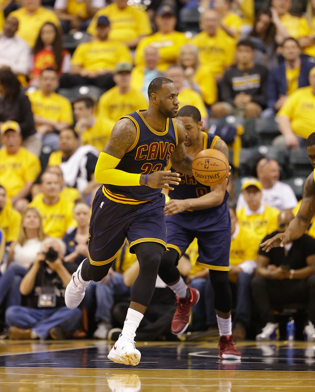 . Cleveland Cavaliers\' LeBron James in action during the first half in Game 3 of a first-round NBA basketball playoff series against the Indiana Pacers,Thursday, April 20, 2017, in Indianapolis. (AP Photo/Michael Conroy)