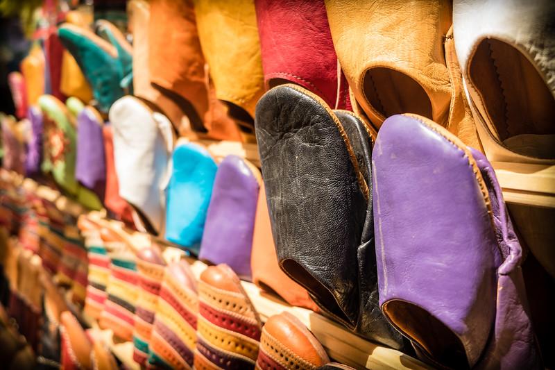 Genevieve Hathaway_Morocco_Fez_Medina_shoes on rack.jpg