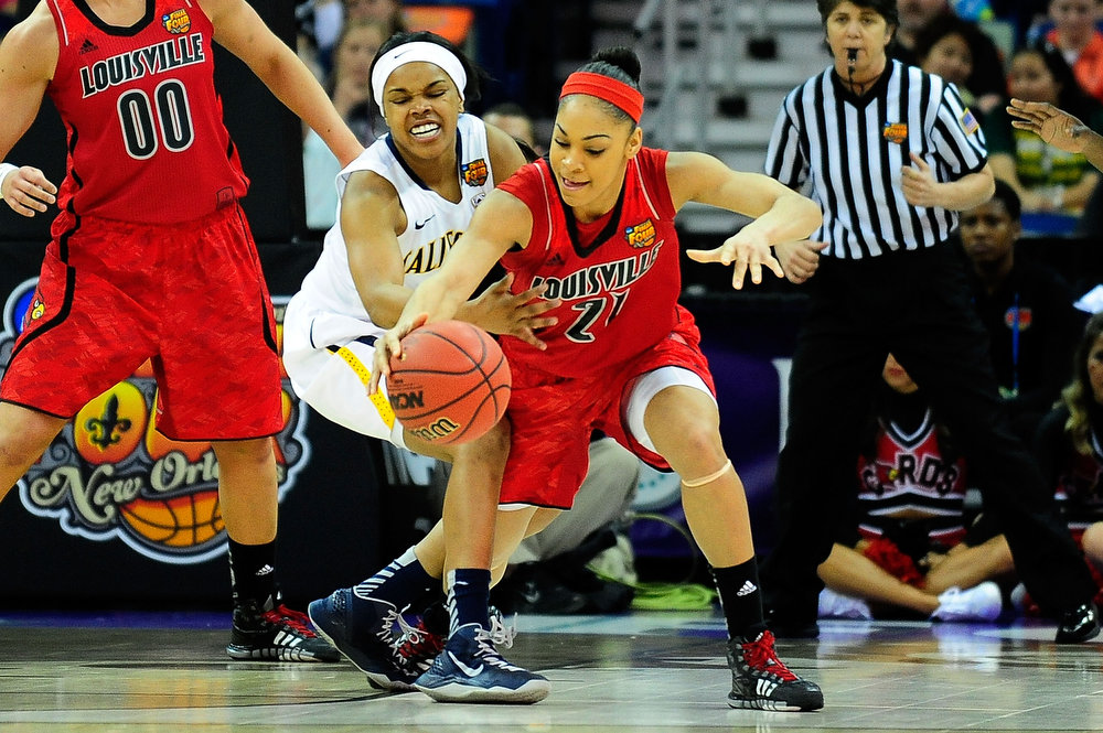 Description of . Tierra Rogers #1 of the California Golden Bears strips the ball from Bria Smith #21 of the Louisville Cardinals during the National Semifinal game of the 2013 NCAA Division I Women's Basketball Championship at New Orleans Arena on April 7, 2013 in New Orleans, Louisiana. (Photo by Stacy Revere/Getty Images)