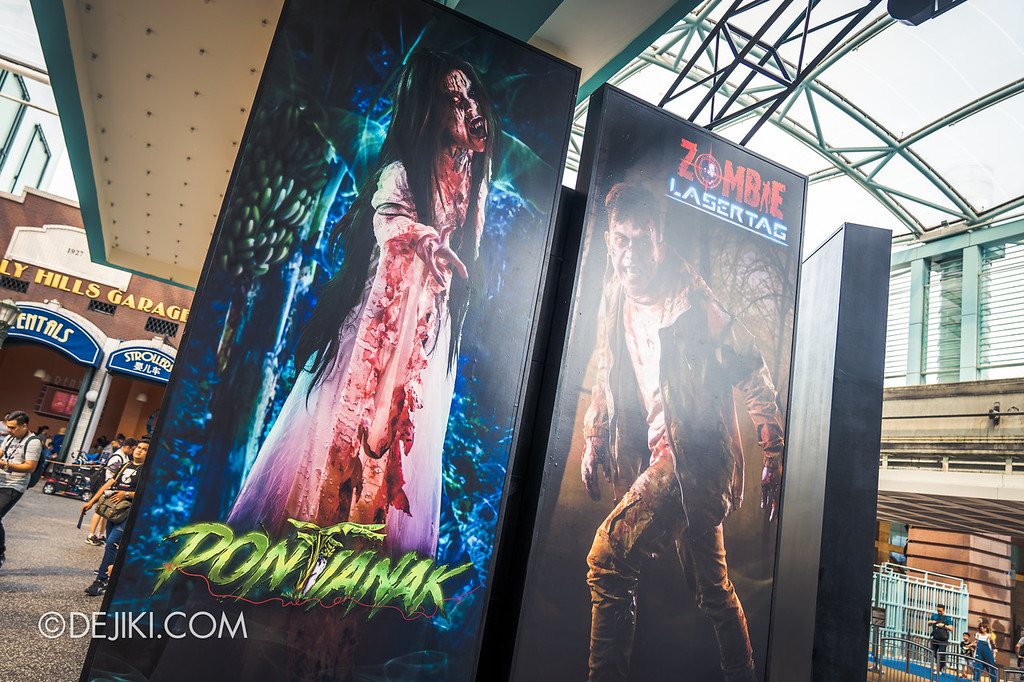Universal Studios Singapore Halloween Horror Nights 8 / Entrance Arch Characters Pontianak and Zombie