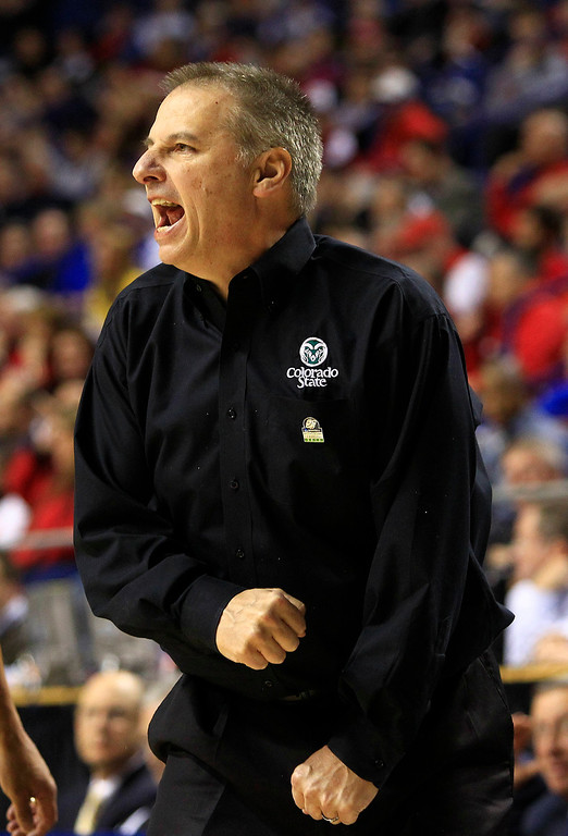 . Colorado State head coach Larry Eustachy reacts during the first half their second-round NCAA college basketball tournament game against Missouri, Thursday, March 21, 2013, in Lexington, Ky. (AP Photo/James Crisp)