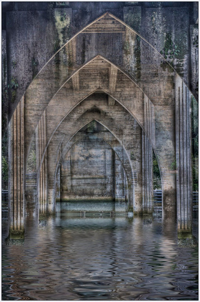 fine art, bridge, Oregon, Florence, OR, Water HDR