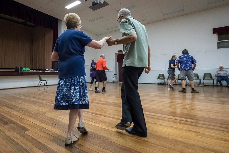 Bill and Kate Hutson conduct ballroom dancing at the Rainbow Hall on Sunday evenings, Rainbow Mallee region, Victoria.