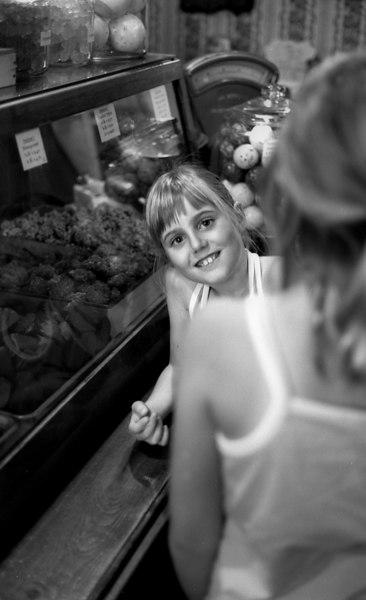 Elena, in her favorite candy store (Columbia, CA)