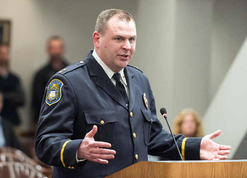 03/27/19  Wesley Bunnell   Staff  Newly appointed Police Chief Christopher Chute speaks to the common council after the council voted unanimously on his appointment.