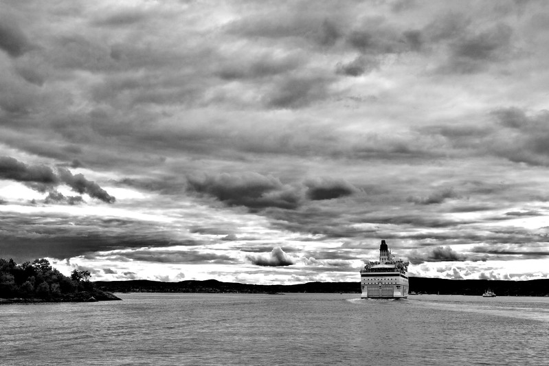 Sea transport is very important in Oslo, Norway. Dramatic B&W image.