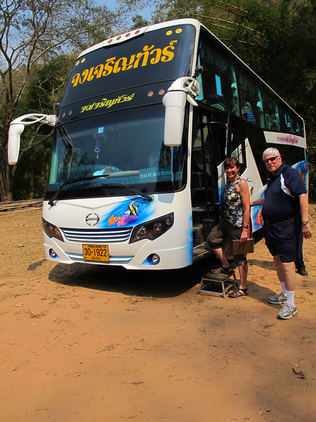 Diane Paul and Stan Dublinske board he bus
