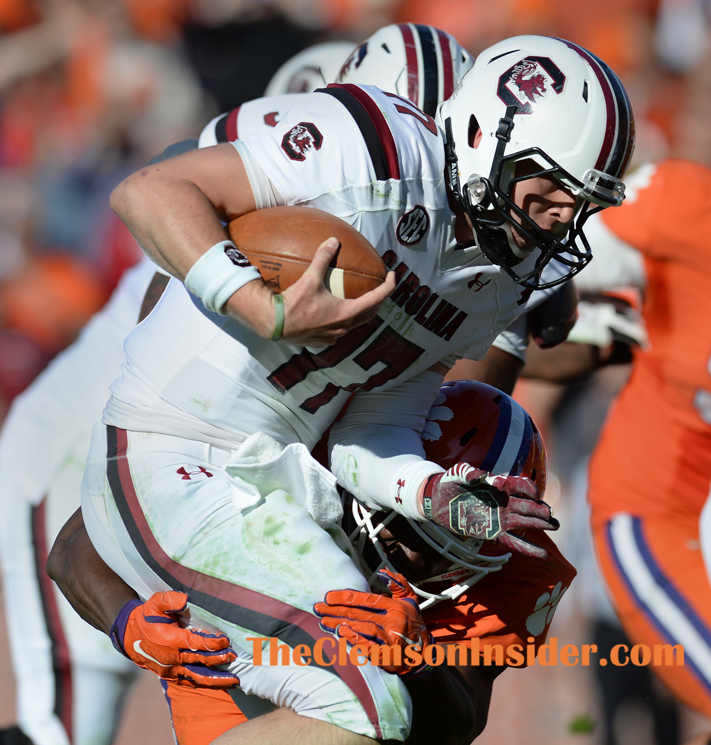 Clemson linebacker Tony Steward (7) tackles USC quarterback Dylan Thompson (17) during the Tigers goal line stand during the 3rd quarter Saturday, November 29, 2014 at Clemson's Memorial Stadium.