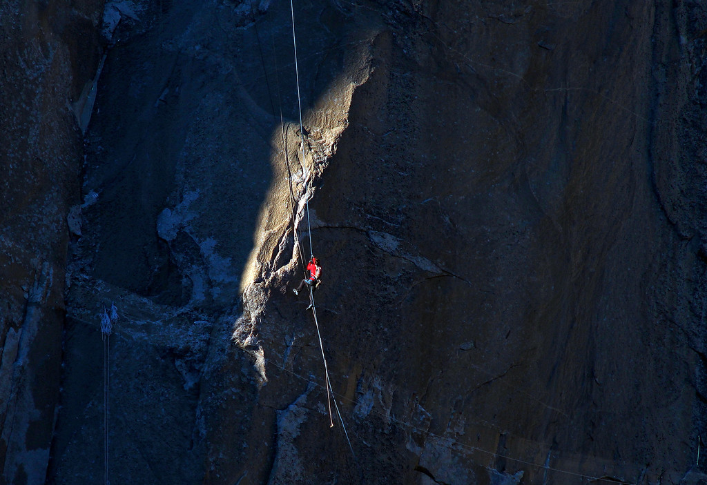 . In this Jan. 7, 2015 photo provided by Tom Evans,  Kevin Jorgeson ascends the rope to pitch 17 during what has been called the hardest rock climb in the world: a free climb of El Capitan, the largest monolith of granite in the world, a half-mile section of exposed granite in California\'s Yosemite National Park. El Capitan rises more than 3,000 feet above the Yosemite Valley floor. The first climber reached its summit in 1958, and there are roughly 100 routes up to the top. (AP Photo/Tom Evans, elcapreport)