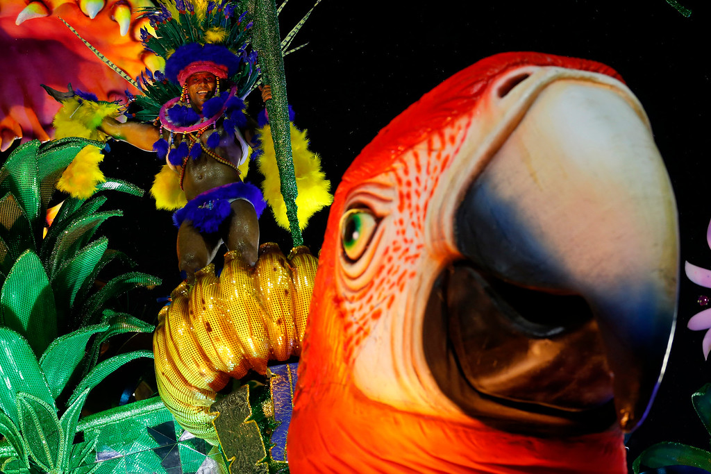 . A performer from the Paraiso do Tuiuti samba school parades on a float during Carnival celebrations at the Sambadrome in Rio de Janeiro, Brazil, Sunday, Feb. 26, 2017. Competitors work for months to ready for Brazil\'s world famous Carnival parades of samba dancing, costumes and magnificent floats. (AP Photo/Silvia Izquierdo)