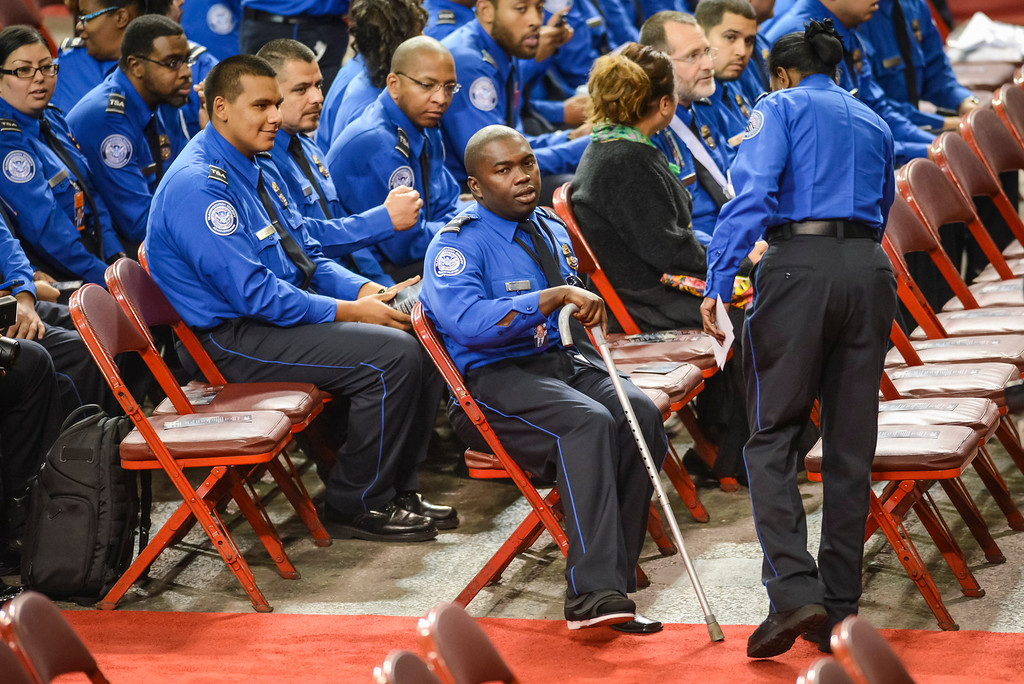 . Wounded TSA officer Tony Grigsby arrives for the memorial for slain TSA officer Gerardo Hernandez at the Los Angeles Sports Arena Tuesday, November 12, 2013.  A public memorial was held for Officer Hernandez who was killed at LAX when a gunman entered terminal 3 and opened fire with a semi-automatic rifle, Grigsby was wounded in the attack.  ( Photo by David Crane/Los Angeles Daily News )