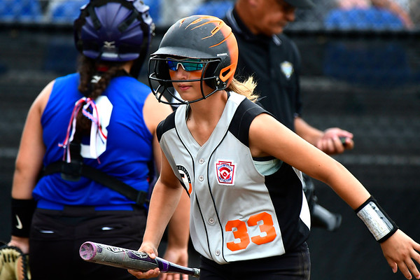 7/26/2018 Mike Orazzi | Staff PA's Emily Patton (33) during a win over Rhode Island in the Little League Eastern Regional Softball Tournament at Breen Field in Bristol Thursday.