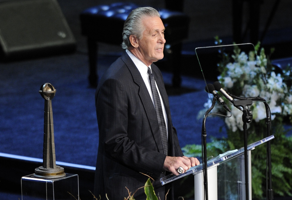 . Former coach Pat Riley spoke.  Family, friends current and former Lakers players and coaches attended a memorial service at the Nokia Theatre for Laker owner Jerry Buss who passed away on Monday, 2/18/2013 as a result of cancer. Los Angeles, CA 2/21/2013 John McCoy/Staff Photographer