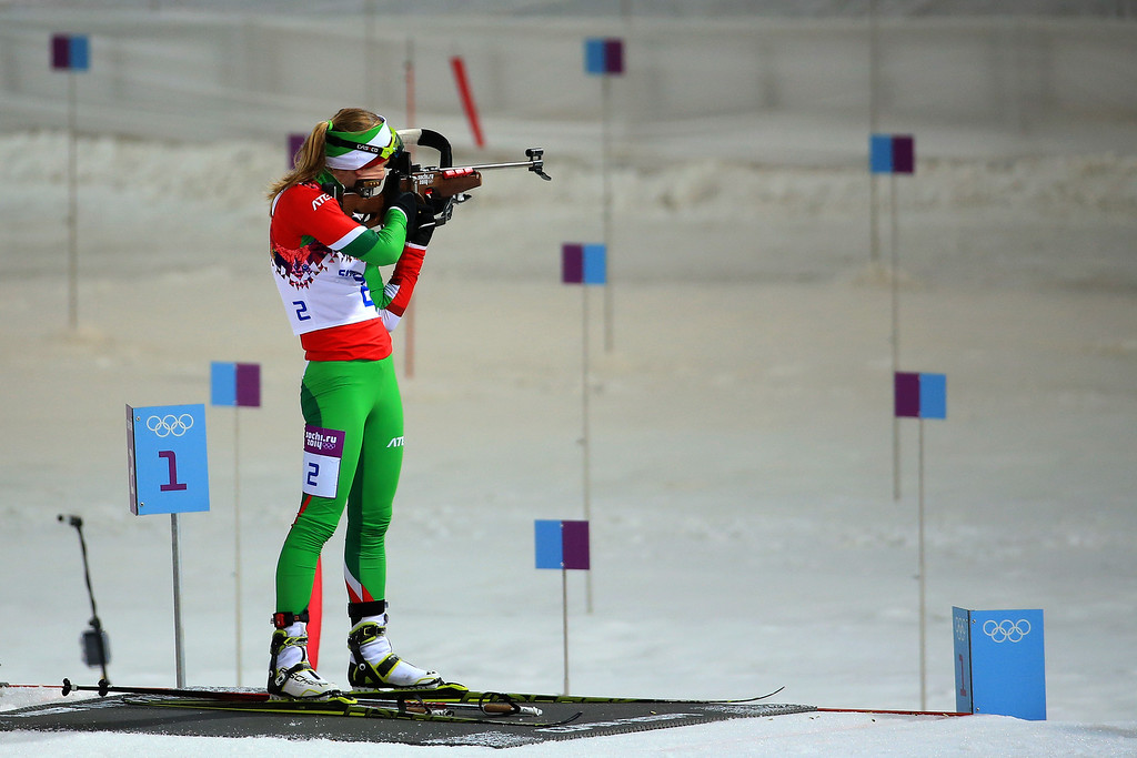 . Darya Domracheva of Belarus competes in the Women\'s 12.5 km Mass Start during day ten of the Sochi 2014 Winter Olympics at Laura Cross-country Ski & Biathlon Center on February 17, 2014 in Sochi, Russia.  (Photo by Richard Heathcote/Getty Images)