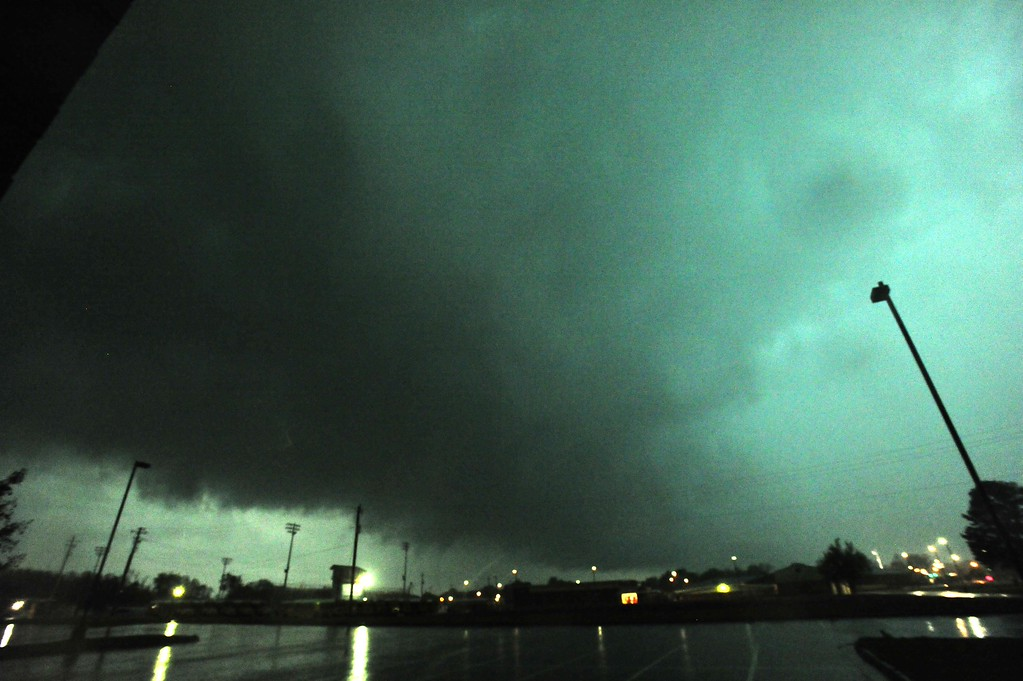 . A view of a rain-wrapped tornado looking south from Hazel Green High School is seen as multiple tornadoes raked across Hazel Green and northern Madison County late afternoon Monday, April 28, 2014, in Hazel Green, Ala. (AP Photo/AL.com, Eric Schultz)
