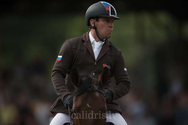 Alexandr BELEKHOV (RUS) with horse BIVALDI (90), FEI World Cup Qualifying competition, CSI2*-W, Qualifier for OG RIO 2016, Riga, 02.08.2015