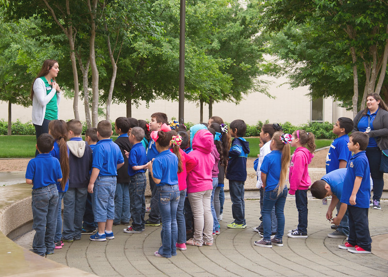 Student Sophia Zaner gives a welcome tour to Collins Parr Elementary School first graders from San Diego, Texas.