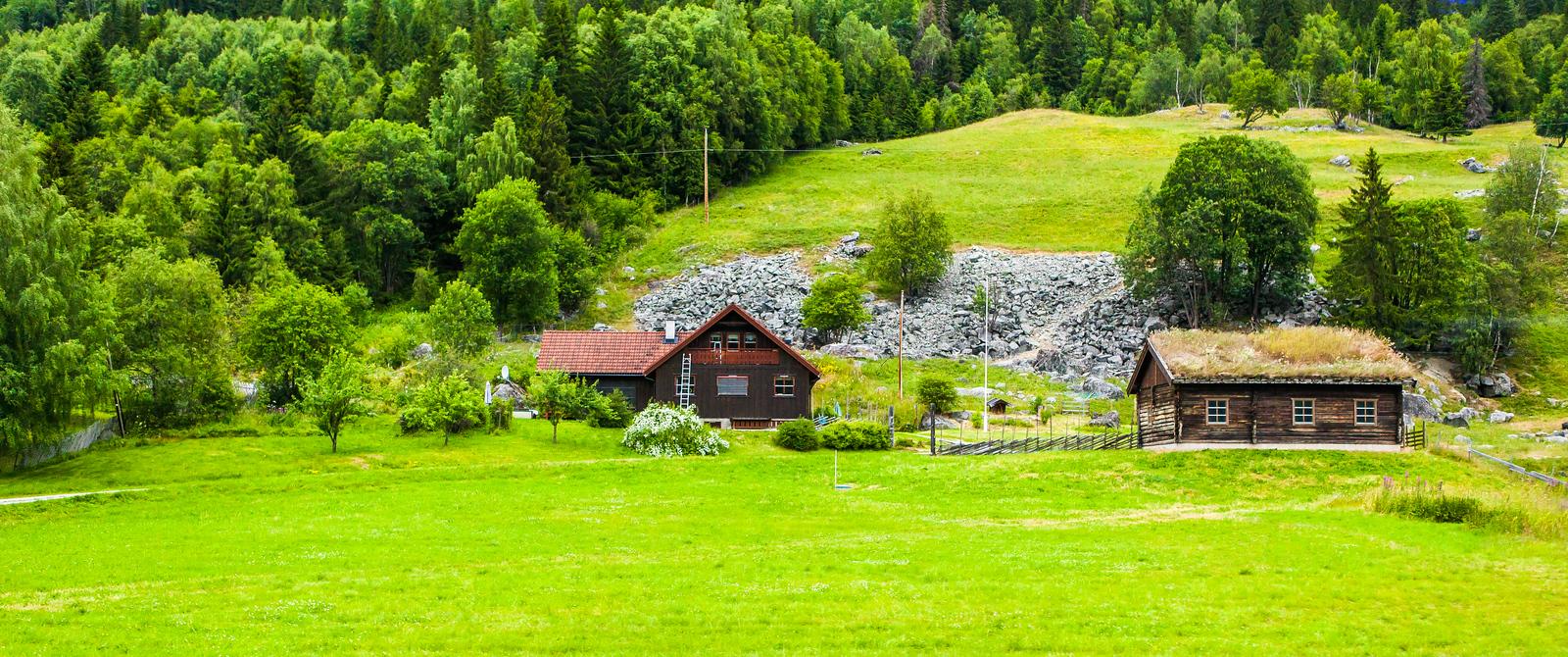 北欧旅途,屋顶长草的民居