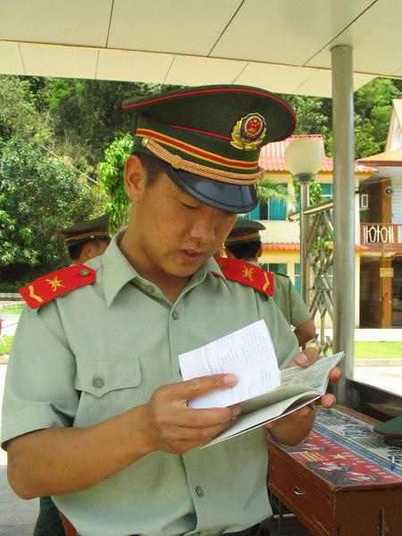 Very serious border guard.