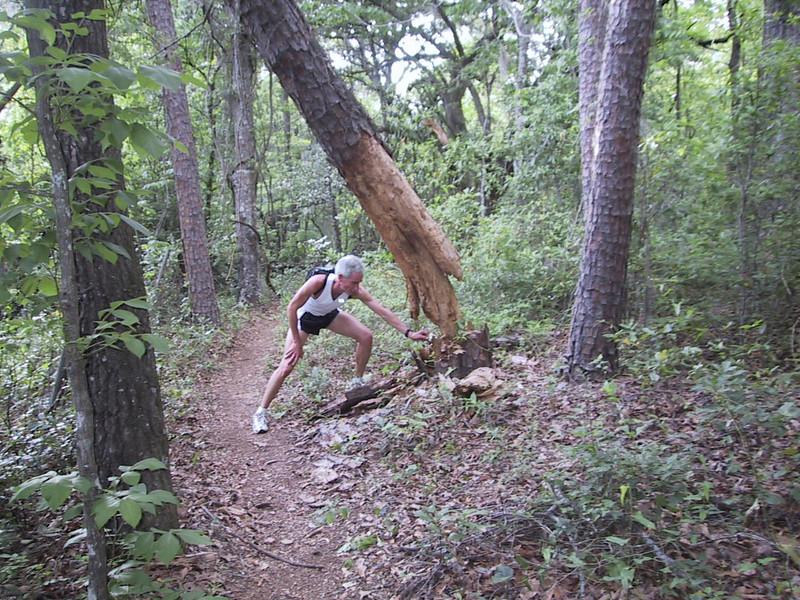 """I test """"The Mousetrap"""" as Jeff snaps the shot. Mousetrap - long gone - was on Coupe de Ville Trail maybe 500m from the west terminus."""