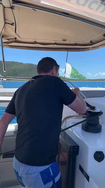 Rob works the sails.