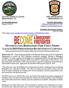 BRIDGEPORT, CT FIRE DEPARTMENT IS HIRING