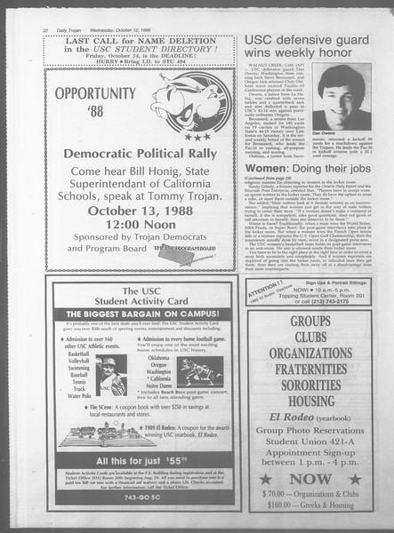 Daily Trojan, Vol. 107, No. 26, October 12, 1988