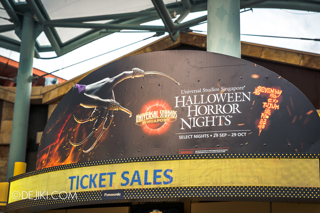 Universal Studios Singapore Park Update August 2017 - HHN7 Halloween Horror Nights 7 Ticket Booth decor